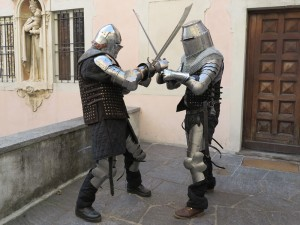 Longsword combat in historic armour
